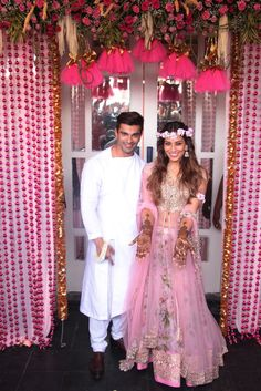 Bipasha Basu and Karan Singh Grover's mehendi function was held at Villa 69 in Mumbai on today, a day before their wedding. Indian Bridal Wear, Indian Wedding Outfits, Indian Outfits, Indian Weddings, Sangeet Outfit, Mehendi Outfits, Wedding Wear, Wedding Dresses, Wedding House