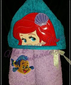 5 x 7 Mermaid Girl Design with Jitter Fish Add On Embroidery Files, Machine Embroidery Designs, Embroidery Patterns, Mermaid Towel, The Little Mermaid, 3 D, My Design, Fancy, Fish