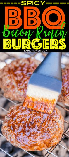 Spicy BBQ Ranch Burgers - seriously delicious! SO easy and they taste AMAZING!!! We grilled these for a party and everyone RAVED about them!! Ground Beef, Ranch mix, cheddar cheese, lettuce, tomato, bacon and Kingsford® Honey Jalapeño Mesquite BBQ Sauce. Sweet and a little spicy! A new favorite!