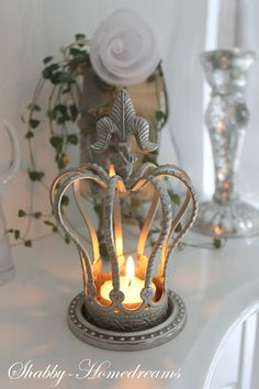 Shabby Home Dreams French Decor, French Country Decorating, Shabby Vintage, French Vintage, Bougie Candle, Crown Decor, Candle In The Wind, Fru Fru, Light My Fire