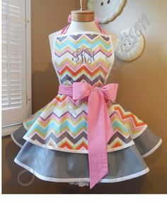 Michael Miller Spa Chevron Print Accented With by mamamadison