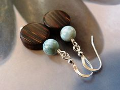 Larimar old palm wood earrings natural wood beads by Mirma on Etsy