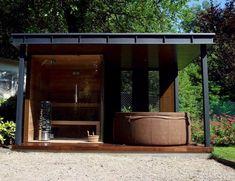Diy Sauna, Outdoor Sauna, Jacuzzi Outdoor, Home Garden Design, Patio Design, Outdoor Rooms, Outdoor Living, Scandinavian Saunas, Backyard Sitting Areas