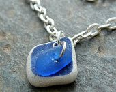 Sea glass and sea pottery anklet or bracelet, cobalt, white beach jewelry