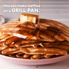 Grill Pan Waffles It really burns when a craving for homemade waffles hits and you realize your don't even own a waffle maker. Well, we have the backup plan. A grill pan is the best hack of all… Continue Reading → I Love Food, Good Food, Yummy Food, Best Pancake Recipe, Homemade Waffles, Waffle Recipes, Perfect Breakfast, Crepes, Cooking Recipes