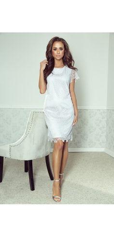 Sukienki wizytowe - Kolekcja wiosenna || Suknie wieczorowe White Dress, Spandex, Dresses, Fashion, White Dress Outfit, Gowns, Moda, La Mode, Dress