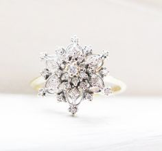 Vintage Snowflake Diamonds 14K Yellow and by RosenrosettAntiques, $485.00 ...woah