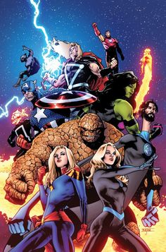 Empyre variant cover - Fantastic Four and Avengers by Mahmud Asrar, colours by Morry Hollowell * Arte Dc Comics, Marvel Comics Art, Avengers Comics, Marvel Comic Books, Marvel Fan Art, Mcu Marvel, Marvel Heroes, Captain Marvel, Marvel Comic Character