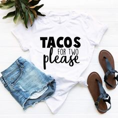 Tacos For Two Please Graphic T-Shirt, Pregnancy Announcement Tee, Announcement T-Shirt, Pregnancy Graphic T-Shirt