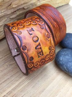 Hand Tooled Wide Leather Cuff Bracelet, Boho, Caramel Brown, Leather Bracelet with Words, Love – Leather Style Leather Cuffs, Leather Tooling, Leather Bracelets, Leather Wristbands, Men Bracelets, Bracelet Men, Leather Jackets, Pink Leather, Leather Men