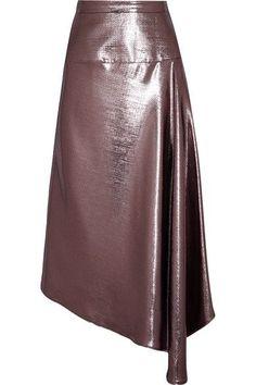 Roland Mouret - Piper Asymmetric Draped Lamé Midi Skirt - Purple - UK12