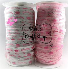 """Princess And Tiara Foil Fold Over Elastic - 5/8"""" - Craft Supplies - Hair Accessories – DIY – Elastic By The Yard - Choose from 1- 10 Yds –"""