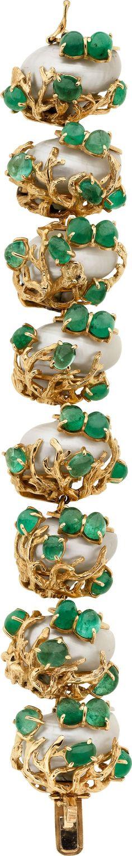 Seaman Schepps Emerald, Shell & Gold Bracelet