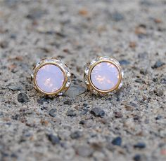 Pink Opal Earrings - Small Gold Sugar Sparklers - Vintage Swarovski Pink Opal Diamond Rhinestone Vintage Stud Earrings - Mashugana. $18.50, via Etsy.