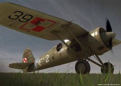 PZL P.11C – polski samolot myśliwski. 121 Eskadra Myśliwska. Rys. Anders Lejczak
