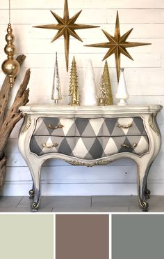 Neutral Dixie Belle Paint Colors in: French Linen Drop Cloth Hurricane Gray Diy Furniture Finishes, Cheap Furniture Makeover, Diy Furniture Decor, Funky Furniture, Furniture Design, Milk Paint Furniture, Furniture Arrangement, Chalk Painting Furniture, Geek Furniture
