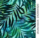 seamless pattern with ethnic background and large leaves layered. exotic look…