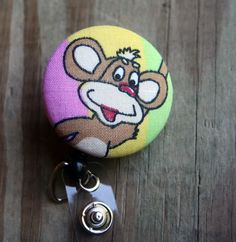 Name badge fabric covered badge reels Monkey by debsdesigns401, $7.50