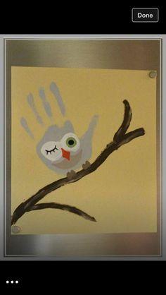 hand print owl
