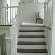 Gray Wood Stairs White Risers