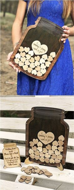 Mason Jar Drop Top Wood Wedding Guest Book