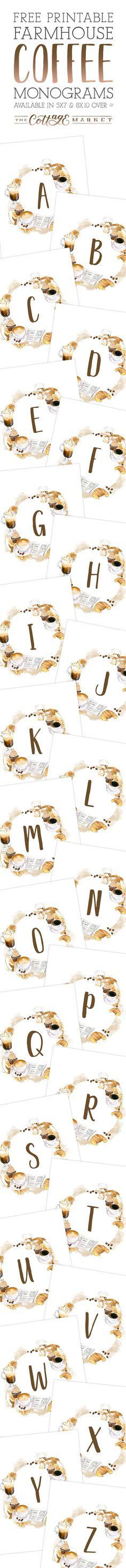 Free Printable Farmhouse Coffee Monograms