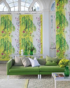 Designers Guild Wiilow Blossom fabric and wallpaper. Citron not your thing? Don't worry-it comes in other colors...available at Dean Warren.