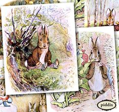 Bunnies! Scanned from vintage first-edition copies of Beatrix Potter's Peter Rabbit series. Great for #Easter and #Spring. #Printables 240 by piddix.