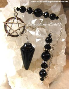Black Onyx Pentagram Pendulum Onyx Pendulum by StarshineBeads Pendulum Board, Pagan Art, Crystal Meanings, Sell Items, Black Crystals, Black Onyx, Wicca, Crystal Beads, Mystic