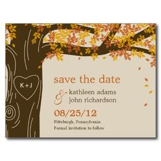 Oak Tree Fall Wedding Save The Date Postcard-- Think I may use this for my actual invitation!