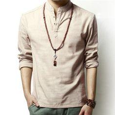 Spring Men's Shirt Long-sleeved Summer Ventilated Solid Color Linen Cotton Leisure Man Dress Shirts