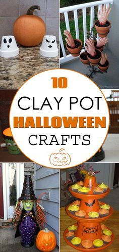 10 Awesome Clay Pot Halloween Crafts is part of Clay crafts Halloween A collection of Halloween crafts made from terracotta flower pots! Halloween Crafts To Sell, Clay Crafts For Kids, Halloween Clay, Halloween Flowers, Halloween Party Supplies, Clay Pot Crafts, Crafts For Seniors, Diy Halloween Decorations, Fall Crafts