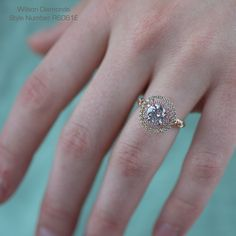 Round double halo and intricate hand engraved band #wilsondiamonds #rosegold