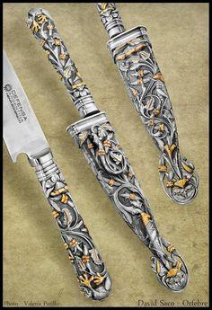Orfebrería de plata y oro. Dragon Scale, Custom Metal, Knifes, Sword, Handmade Knives, Cold Steel, Silver, Folklore, Pistols
