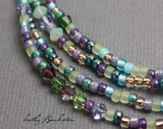 A little sparkly twist on one of my best selling seed bead necklaces A Multicolor blue purple, gold and teal glass seed bead necklace with Swarovski crystals mixed in. All the colors of a summer garde Diy Jewelry, Beaded Jewelry, Jewelry Necklaces, Jewelry Design, Fashion Jewelry, Jewelry Making, Jewelry Ideas, Layering Necklaces, Jewelry Accessories