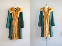 vintage 1930s wool & fox fur coat