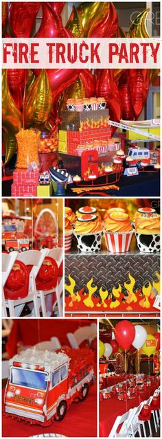 So many great details at this fire truck birthday party! See more party ideas at CatchMyParty.com!