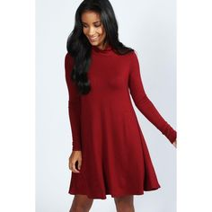 Boohoo Faye Turtle Neck Long Sleeve Swing Dress ($20) ❤ liked on Polyvore featuring dresses, berry, red turtleneck, red long sleeve dress, red swing dress, red polka dot dress and long sleeve turtleneck dress