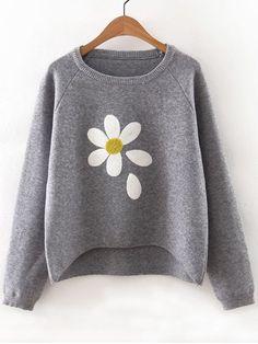 Grey Flower Print Raglan Sleeve Dip Hem Sweater   victoriaswing