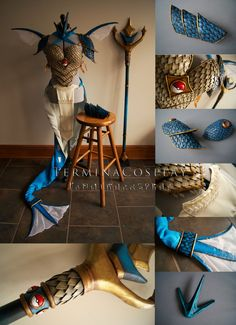 Full Costume Commission- Includes breastplate, back piece, headpiece, shoulder fins, back fins, tail fin, skirt, apron, pauldrons, bracer, and trident.  Armor is Worbla and craft foam, Trident...