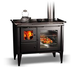 Wood Stove Wall, Corner Wood Stove, Wood Burner Stove, Wood Burning Cook Stove, Wood Stove Cooking, Stove Fireplace, Fireplace Design, Rustic Ovens, Cottage Kits