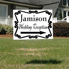 Wedding or Wedding Reception Sign with Arrow and Swirly Frame on Etsy, $30.00