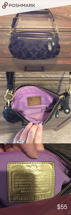100% authentic Coach purse Cute small coach purse, black with purple lining. Has inside zipper and small pocket and also a zipper on the outside. Used but in good condition. Coach Bags Mini Bags