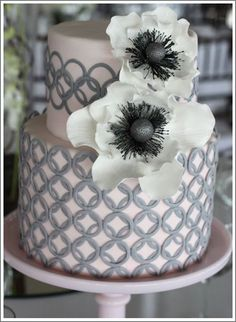 Modern Grey Wedding Cake white flowers, idea, colors, pale pink, grey weddings, wedding cakes, modern cakes, bridal shower cakes, anemones