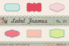 Retro Label Frames Shapes Set No 21. Photoshop Shapes
