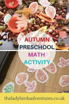 Would you like to make math fun for young children? Then you need my Autumn preschool math activity (including printable number cards) Literacy And Numeracy, Autumn Activities For Kids, Preschool Learning Activities, Fall Crafts For Kids, Math For Kids, Fun Math, Toddler Activities, Preschool Activities, Toddler Play