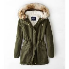 American Eagle Hooded Parka (2,225 MXN) ❤ liked on Polyvore featuring outerwear, coats, jackets, tops, green, faux coat, american eagle outfitters, green parkas, faux fur trim coat and american eagle outfitters coats
