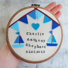 Baby Boy's Embroidered Hoop