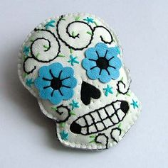 Mexican Sugar Skull Leather Day of the Dead by TheDollCityRocker, $15.00