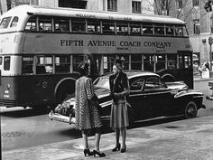 Avenue, New York City, I vaguely remember those double-decker buses. Vintage New York, Vintage Photography, Street Photography, Classic Photography, Old Photos, Vintage Photos, Antique Photos, Vintage Stuff, 1940s
